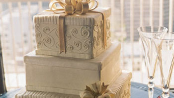 Three Tier Gold Boxes (buttercream sides, fondant box lids)